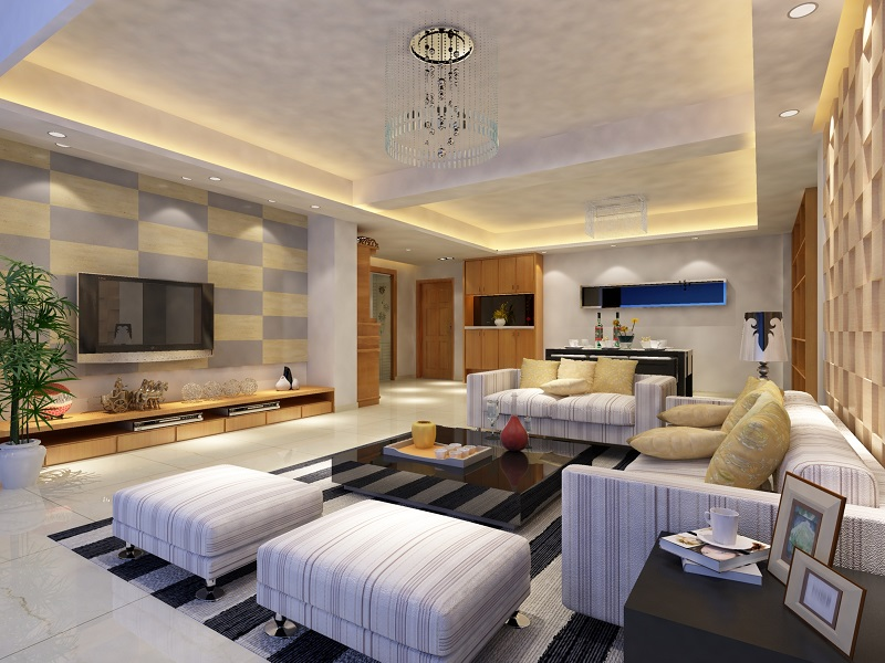 drawing room with cove lighting